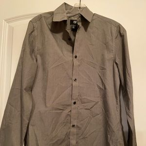 H&M, gray button down, long sleeve